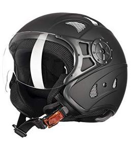casco jet negro para moteros